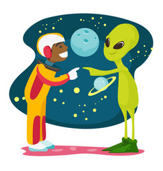 astronaut and alien meet for the first time vector image vector image