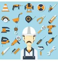 Construction concept with flat icons and builder vector image vector image