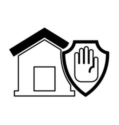 house insurance with hand stop isolated icon vector image vector image