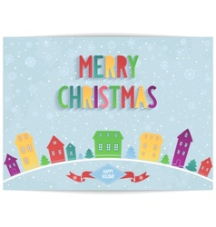 Merry Christmas card with colored lettering design vector image vector image