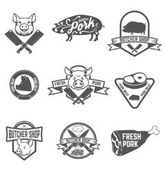 Set of butcher shop fresh pork labels vector image