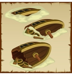 Three parts of the destroyed ship on a parchment vector image vector image