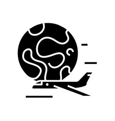 airplane ride black icon concept vector image