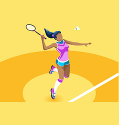 Background badminton girl vector