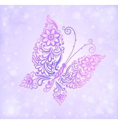 Beautiful purple butterfly flying vector