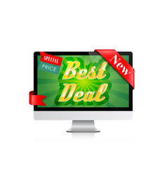 best deal banner computer display offer design vector image
