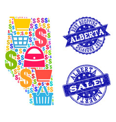 Best shopping composition of mosaic map of alberta vector