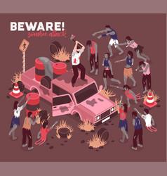 Beware of zombies background vector