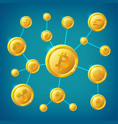 Blockchain cryptocurrency and bitcoin vector