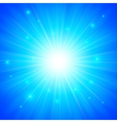 Blue shining sun background vector image