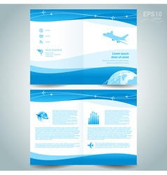 Booklet catalog brochure folder airplane takeoff vector