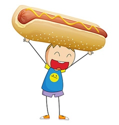 Boy lifting up giant hotdog vector