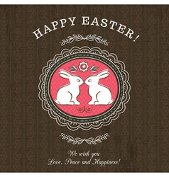 Brown greetings card for Easter Day with rabbits vector image