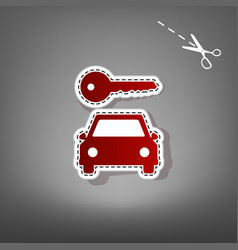 Car key simplistic sign red icon with for vector