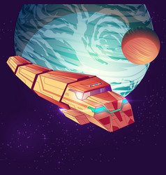cargo spaceship on big planet background vector image