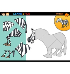 Cartoon zebra puzzle game vector image