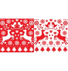 Christmas red greetings card pattern with reindeer vector image