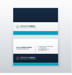 Clean blue professional business card design vector