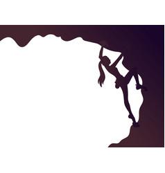 Climbing girl silhouette vector