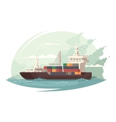 Container ship in sea vector