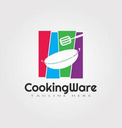 Cooking ware color logo design food icon element vector