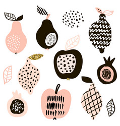 Creative fruits set lemon apple pear passion vector