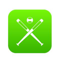 crossed baseball bats and ball icon digital green vector image
