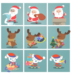 Cute christmas charactersnata claus elf snowman vector