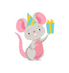 cute mouse in party hat holding gift box funny vector image