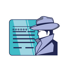 cyber security agent and document with password vector image