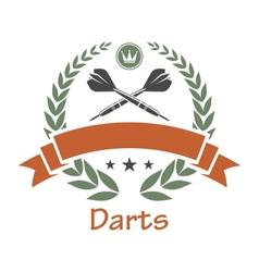 Darts sports heraldic emblem vector