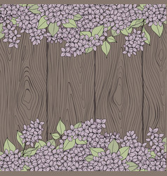 decorative background with lilac and wooden vector image
