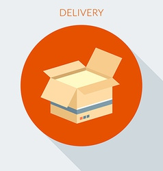 Delivery concept Open cardboard box in flat vector image