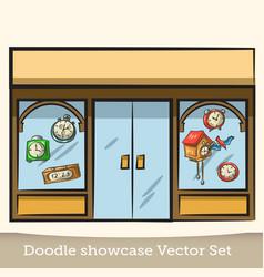 Doodle showcase watch set vector