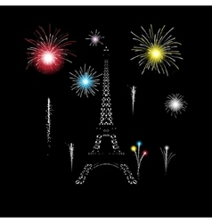 Eiffel tower glows in the night with fireworks vector