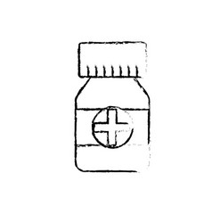 Figure bottle pills to medical treatment vector