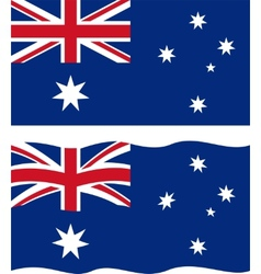 Flat and waving Australian Flag vector image
