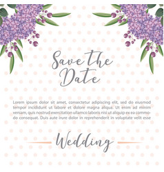 Flowers hydrangea decoration wedding save the date vector