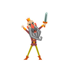 Funny warrior king character raising his sword up vector