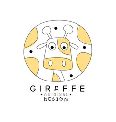giraffe logo original design cute wild animal vector image