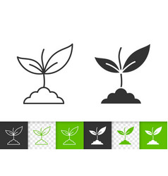 Green leaves simple black line icon vector