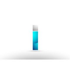 Grey blue alphabet letter i logo 3d design vector