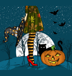 halloween night witch with wizard hat vector image