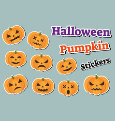 Halloween pumpkin set of stickers emoji patches vector