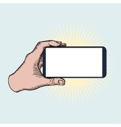 Hand Holding Mobile Phone Horizontally vector