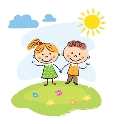 Happy children on a summer day vector