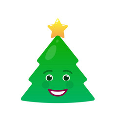 Happy christmas tree isolated emoticon vector