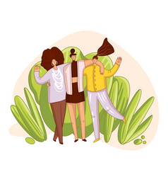 happy friends and sisterhood cartoon vector image