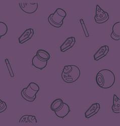 happy halloween outline isometric pattern vector image