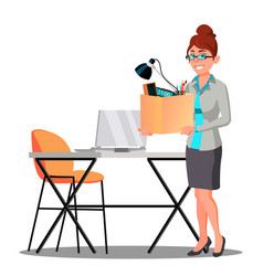 Happy woman with box with things near table vector
